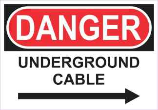 Right Arrow Danger Underground Cable Magnet