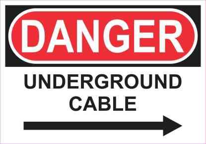 Right Arrow Danger Underground Cable Sticker