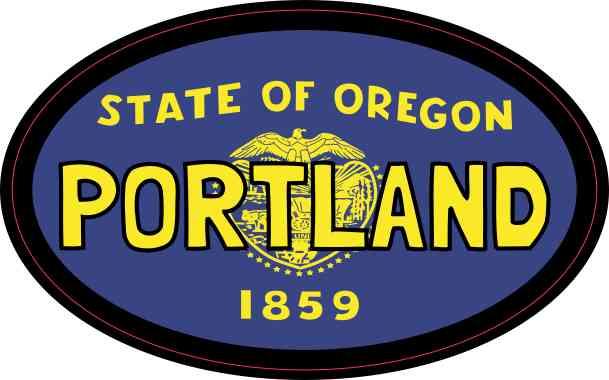 Oval Oregon Flag Portland Sticker