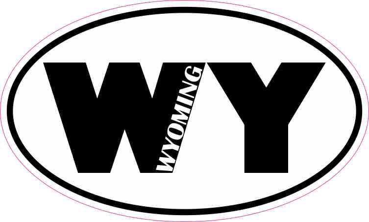 Oval WY Wyoming Sticker