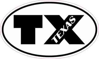 Oval TX Texas Sticker
