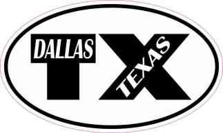 Oval TX Dallas Texas Sticker