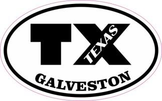 Oval TX Galveston Texas Sticker