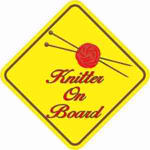 Red Knitter On Board Sticker