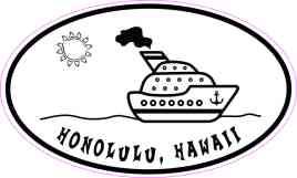 Cruise Ship Oval Honolulu Sticker