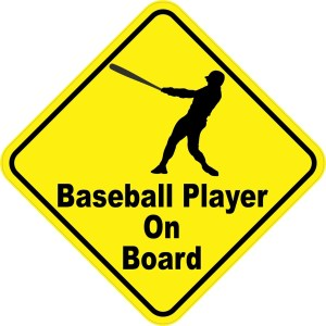 Baseball Player On Board Magnet