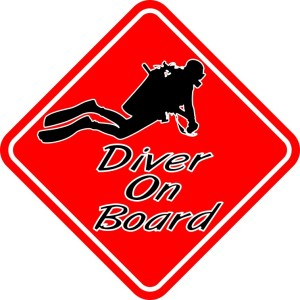 Red Diver On Board Magnet