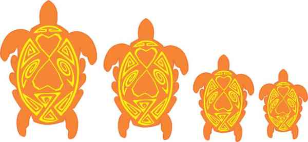 Orange and Yellow Turtle Family Stickers