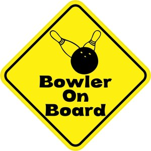 Yellow and Black Bowler On Board Magnet