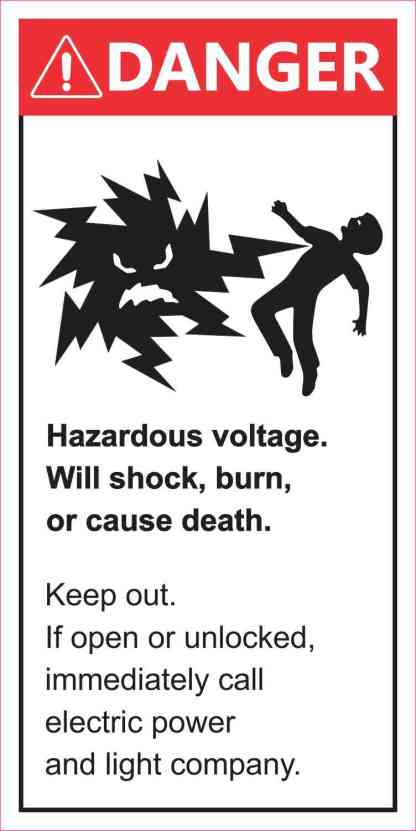 Danger Hazardous Voltage Sticker