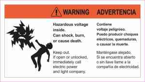 Warning Hazardous Voltage Magnet