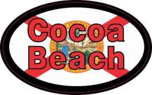 Oval Florida Flag Cocoa Beach Sticker