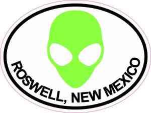 Green Alien Oval Roswell Sticker