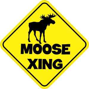 Moose Crossing Sticker