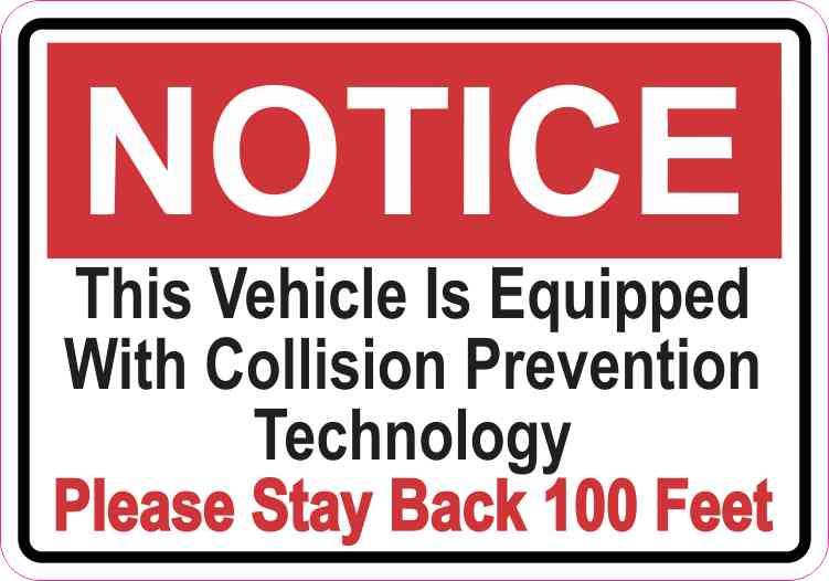 Notice Collision Prevention Technology Sticker