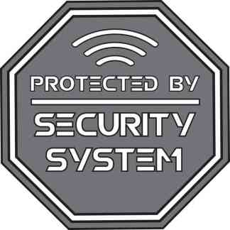 Gray Protected By Security System Sticker