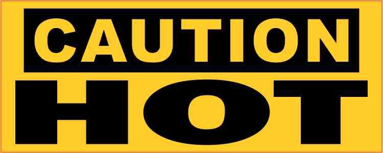 Caution Hot Sticker