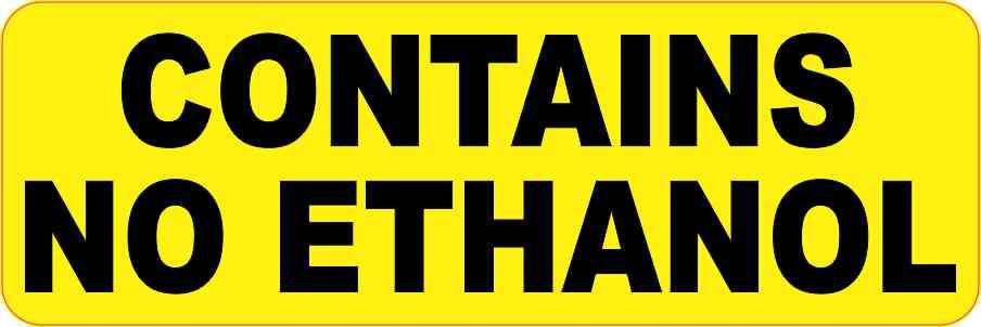 Contains No Ethanol Sticker