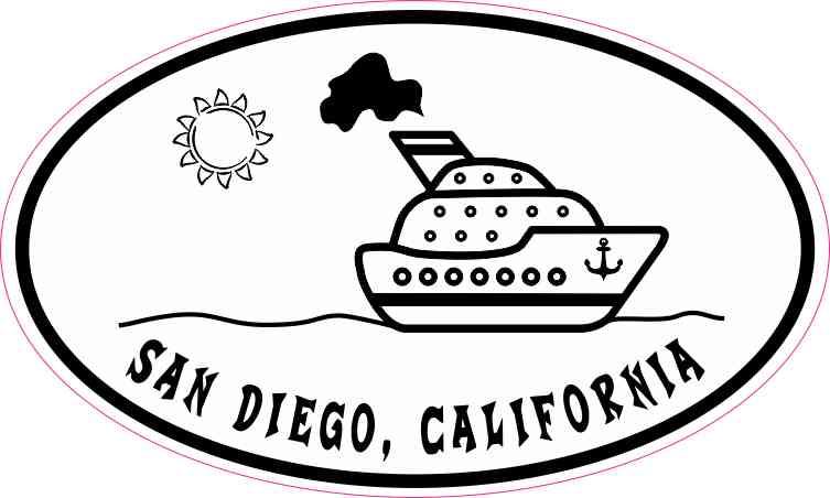 Cruise Ship Oval San Diego Sticker