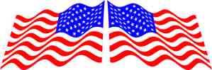 Mirrored Waving American Flag Stickers