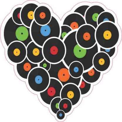 Vinyl Records Heart Sticker