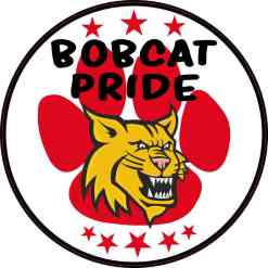 Red Paw Print Bobcat Pride Sticker