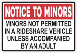 Red Minors Not Permitted in a Rideshare Vehicle Sticker