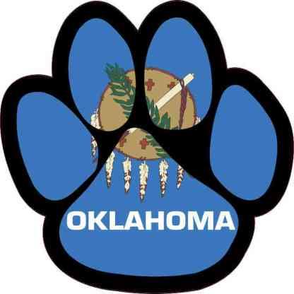 Oklahoma Flag Paw Print Sticker