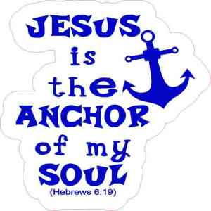 Blue and White Jesus Is the Anchor Sticker