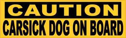 Caution Carsick Dog on Board Sticker