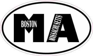 Oval MA Boston Massachusetts Sticker