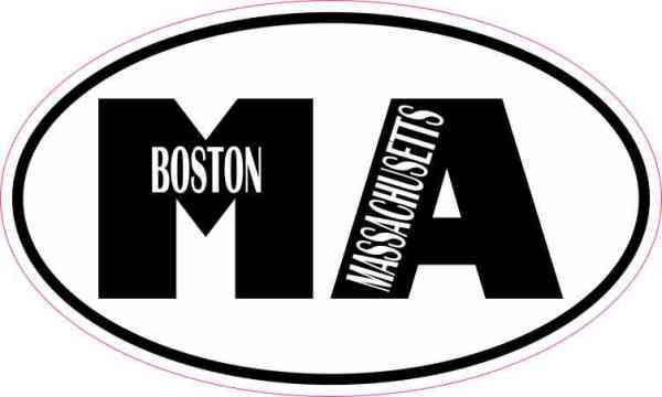 Oval MA Boston Massachusetts Sticker