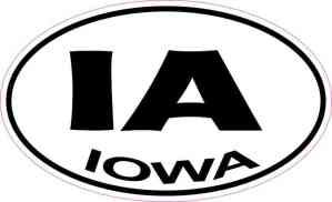 Oval IA Iowa Sticker