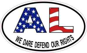 Oval AL We Dare Defend Our Rights Sticker