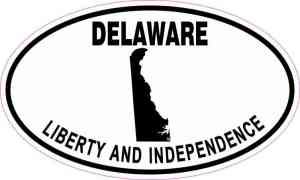 Oval Delaware Liberty and Independence Sticker