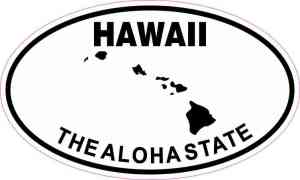 Oval Hawaii the Aloha State Sticker