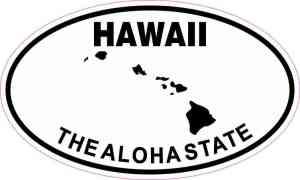 Oval Hawaii the Aloha State Sticker