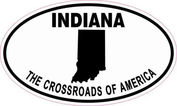 Oval Indiana the Crossroads of America Sticker