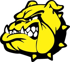 Yellow and Black Bulldog Mascot Sticker