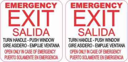English and Spanish Emergency Exit Stickers