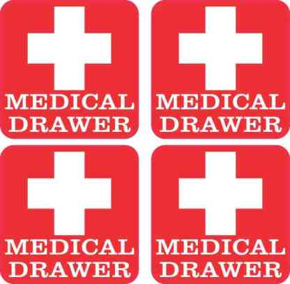 Red Medical Drawer Stickers