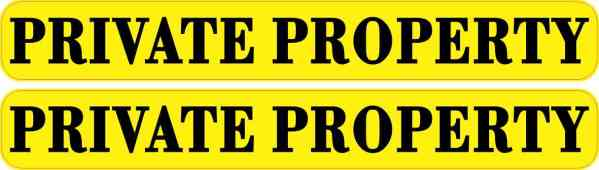 Yellow Private Property Stickers