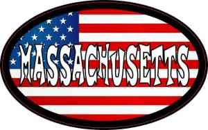 Oval American Flag Massachusetts Sticker