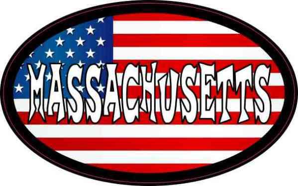 Oval American Flag Massachusetts Sticker
