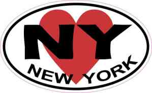 Heart Oval New York Sticker