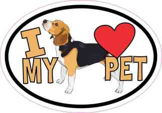 Beagle Oval I Love My Pet Sticker