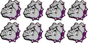 Purple Collared Bulldog Stickers