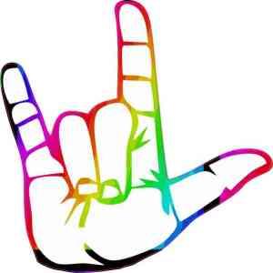 Rainbow ASL I Love You Sticker