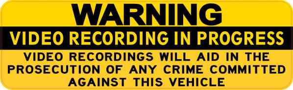 Vehicle Video Recording in Progress Sticker