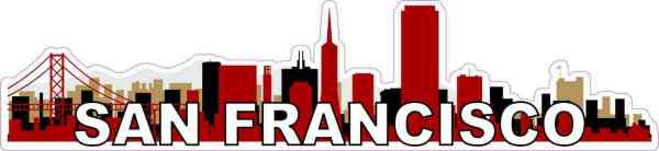 Red San Francisco Skyline Sticker